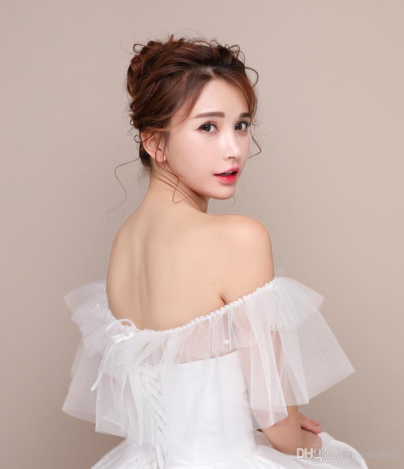 JaneVini Simple Tulle Off Shoulder Bridal Wedding Bolero White Pearls Decoration Lebanon Cheap Lace-Up Bride Wraps Wedding Accessories