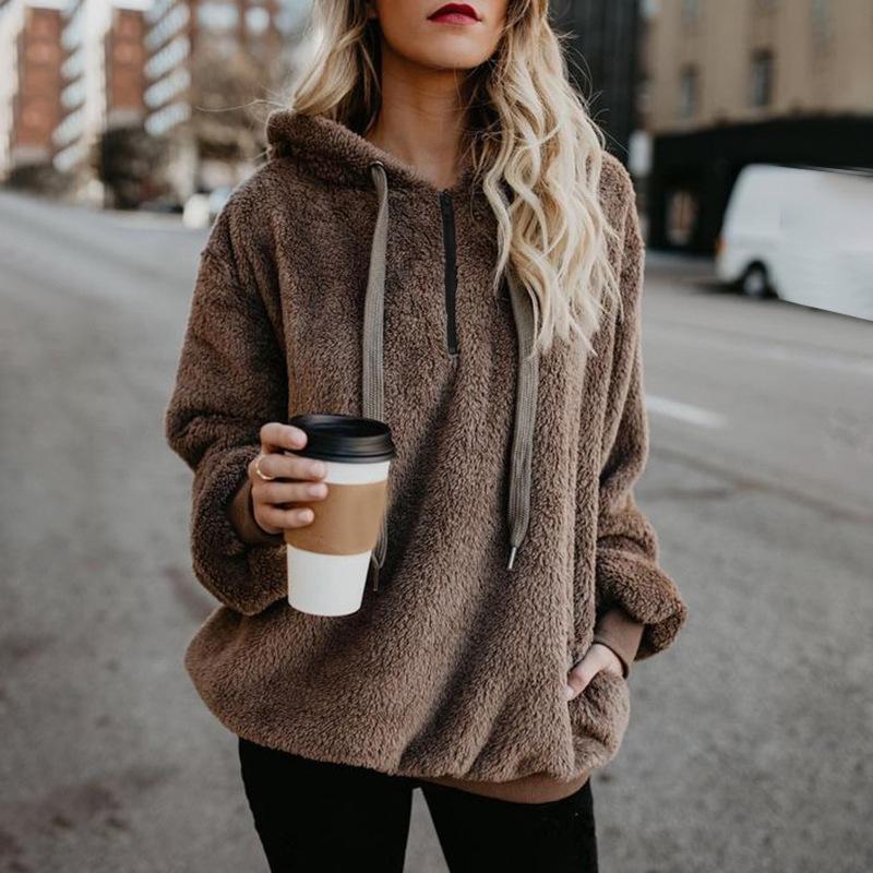 99271f759 2019 Flannel Long Oversized Hoodie Sweatshirt Plus Size Women Clothing Warm Fleece  Womens Hoodies Pullover Winter Coat Poleron Mujer From Veilolive, ...