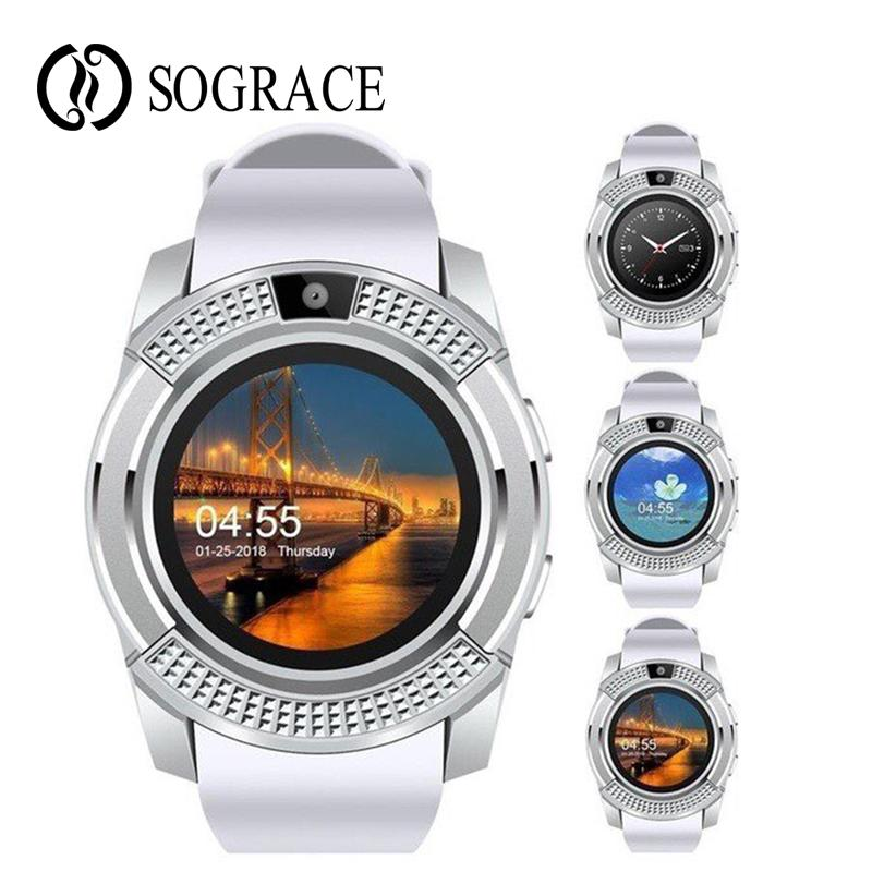 V8 Smart Watch Clock With Whatsapp SIM TF Card Sync Notifier Smartwatch For  Android Round Watch