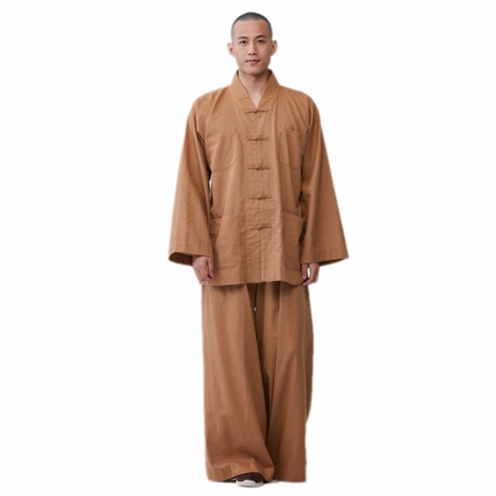 0e2e9c822cd 2019 ZanYing Buddhist Meditation Zen Clothing Sets Loose Cotton Linen Men  Sets Brown ZYS269 From Caesarl