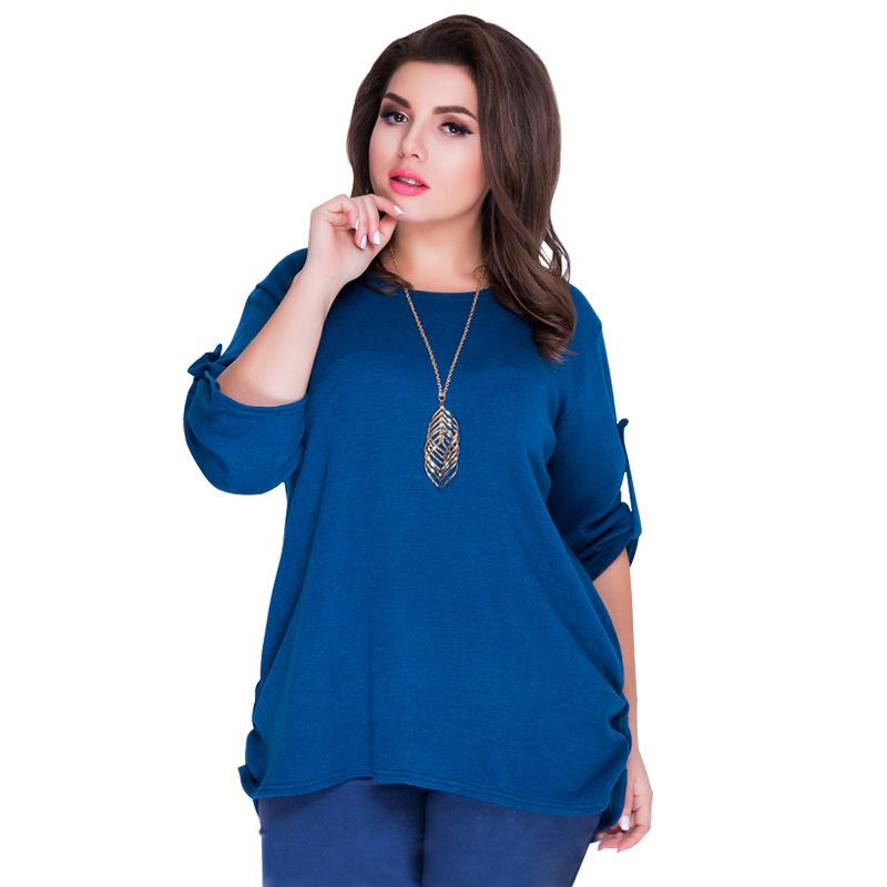 27f96c3b24449 Fashion Women T Shirts Casual 5XL 6XL Plus Size Summer Top Tees 2018 New O  Neck Loose Solid T Shirt Big Size Blue Women Tops Tees Cool T Shirts From  ...