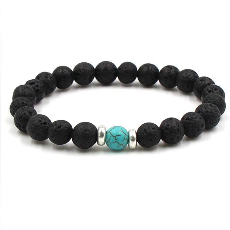 Natural Black Lava Stone Tiger S Eye Turquoise Beads Chakra Bracelet