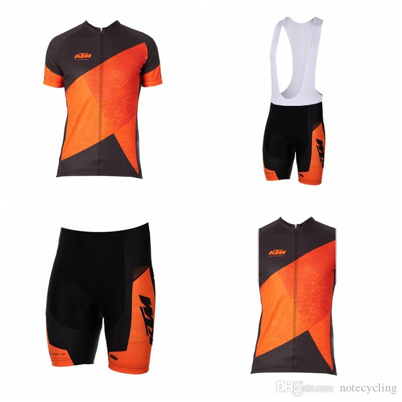 KTM Cycling Short Sleeves Jersey Bib Shorts Sleeveless Vest Sets Summer Bike  New Breathable MTB Ropa Ciclismo Hombre Comfort A41414 Cycling Top Cycle  Tops ... 7eafcc38d
