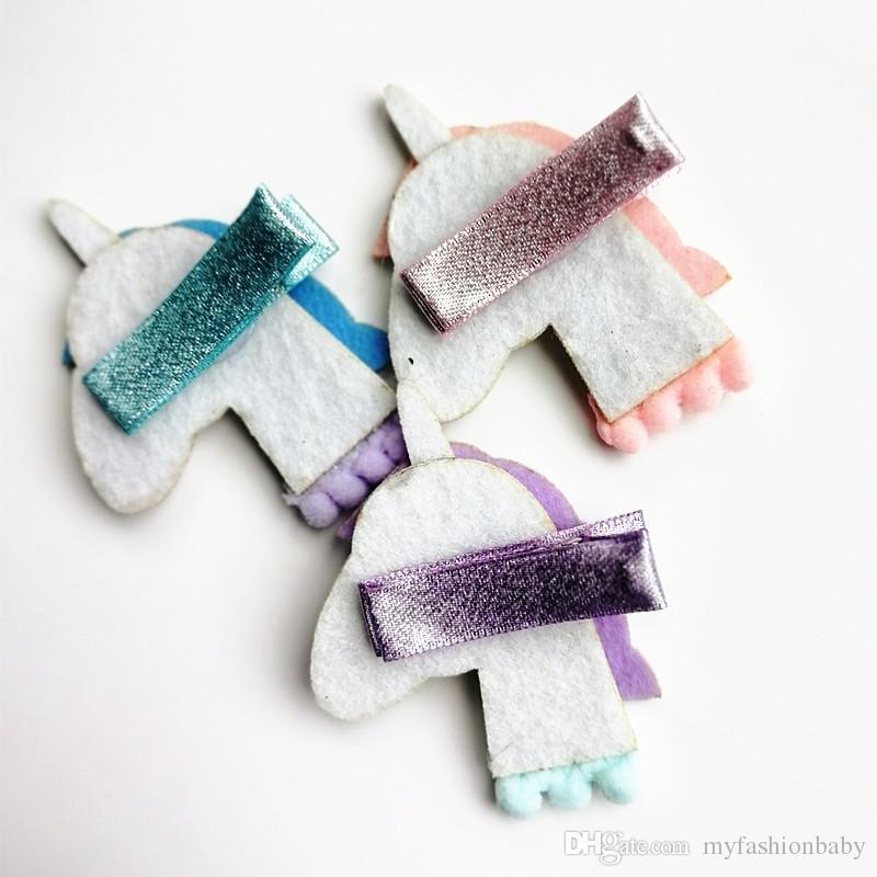 / Yeni At Renkli Çocuklar Glitter Firkete Hayvanlar Kız Sevimli Pembe Unicorn Saç Klip Firkete Sentetik Deri Bebek Klipleri Keçe