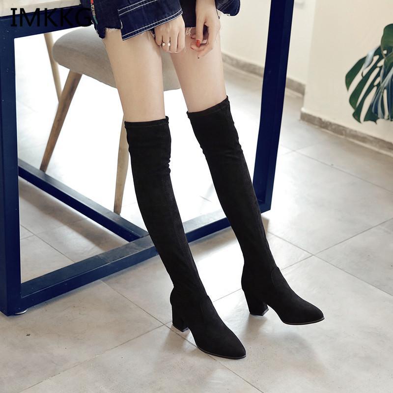 3592bf78b93aea Großhandel 2018 Neue Frauen Stiefel Sexy Fashion Overknee Stiefel Sexy  Dünne Quadratische Ferse Boot Plattform Frau Schuhe Schwarz A666 Von  Clearityy