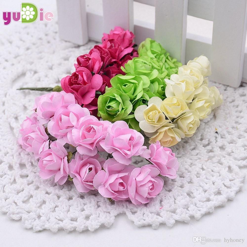 2018 15cm Mini Paper Rose Flowers Bouquet Wedding Decoration Paper