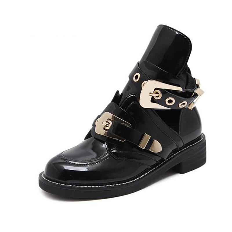 68fa7e6d571a European Famous Brand Woman Boots Buckle Strap Boots Cut Out Ankle Boot For  Woman Metal Buckle Open Martin Boats British Style Ankle Booties Combat  Boots ...