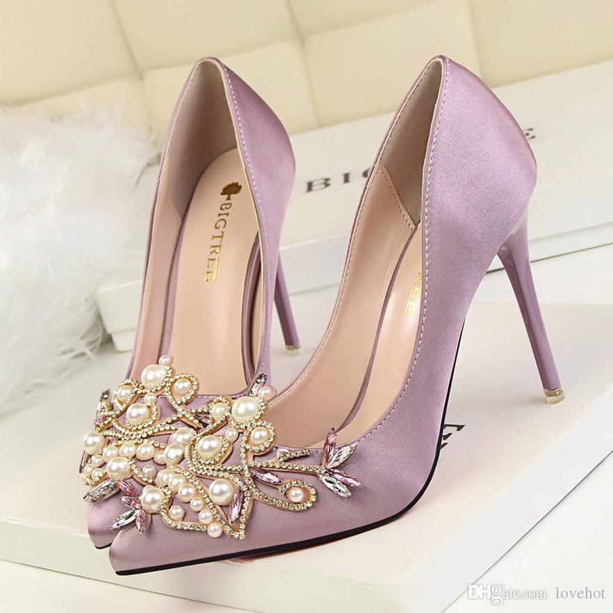 3bd44c0379 Star Style Women Fashion Pearl Crystal High Heels Shoes 2017 New Women s  Sexy Pointed Toe Shallow Solid Silk Elegant Party Shoes