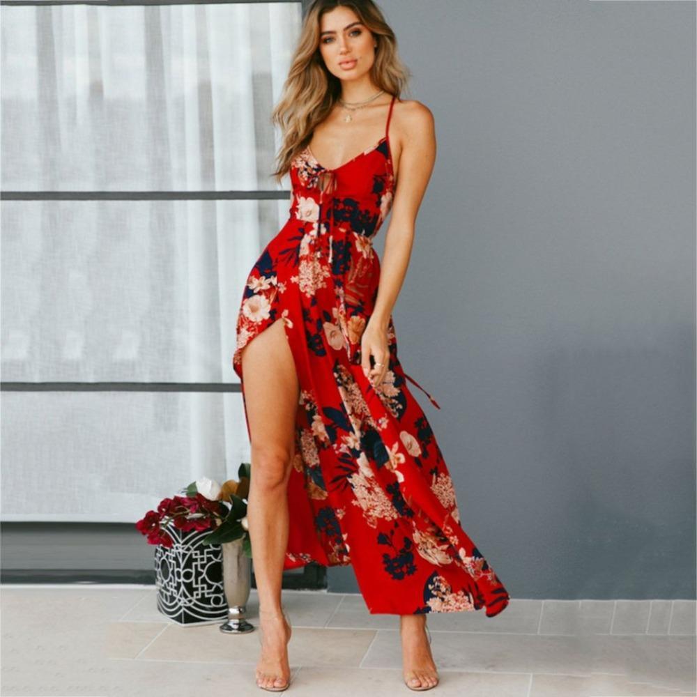 6f31c1be174 2019 Red Floral Print Backless Summer Dress Women Deep V Neck Bohemian Maxi  Dress Spaghetti Irregular Long Feminino Vestidos  2 From Cantury