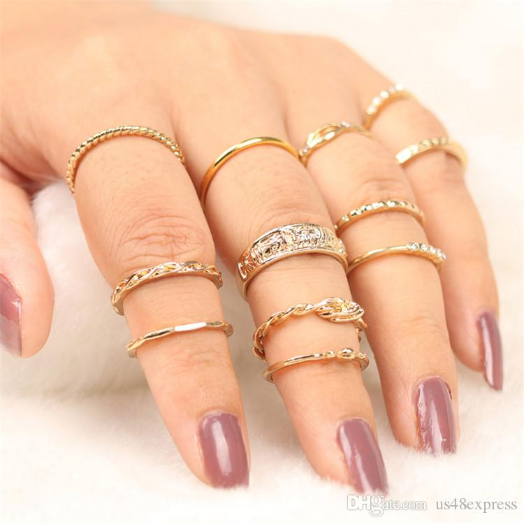 e274eb0ee5 2018 New Charm Gold Color Midi Finger Ring Set For Women Vintage Punk Boho  Knuckle Party Rings Jewelry Diamond Engagement Rings Engagement Rings For  Women ...