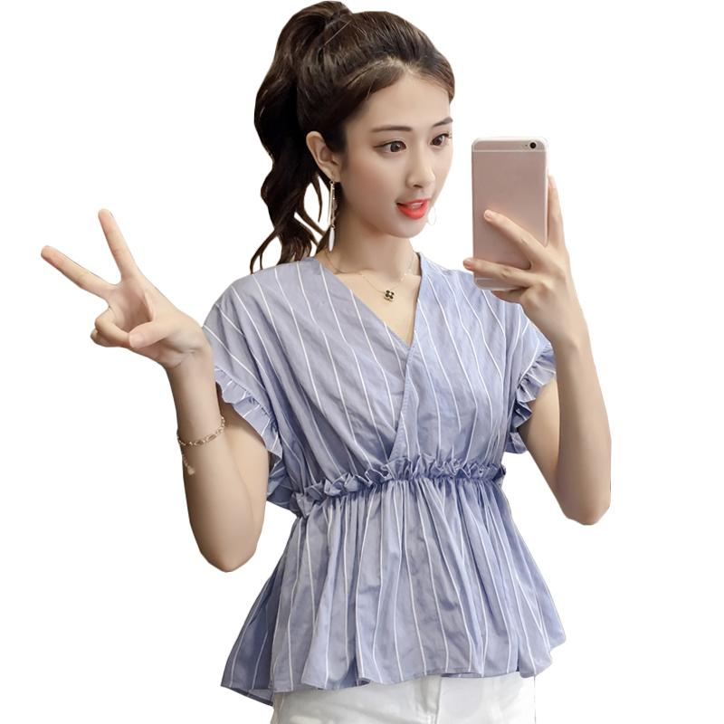 3bf31905 2018 New Striped V Neck Butterfly Sleeve Ruffle Blouse Summer Women ...
