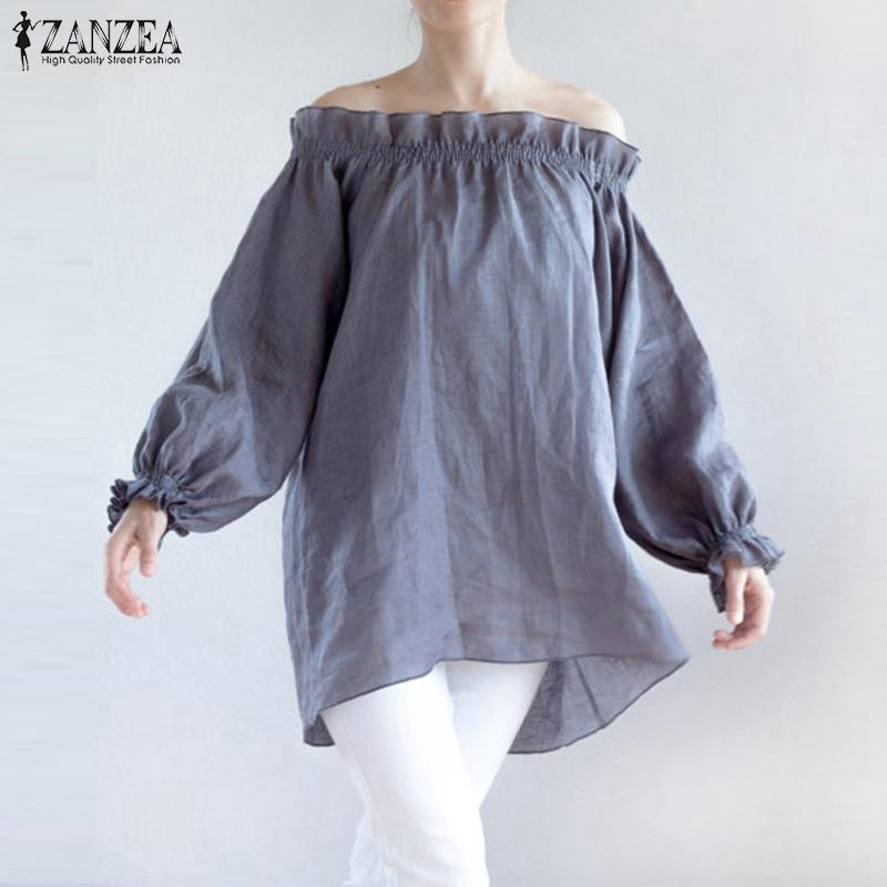 547ab107dbc1 2019 Sexy Off Shoulder Cotton Blouse Tops 2017 Autumn ZANZEA Women Slash  Neck Puff Sleeve Casual Loose Ruffles Shirts Plus Size S 5XL From Jilihua