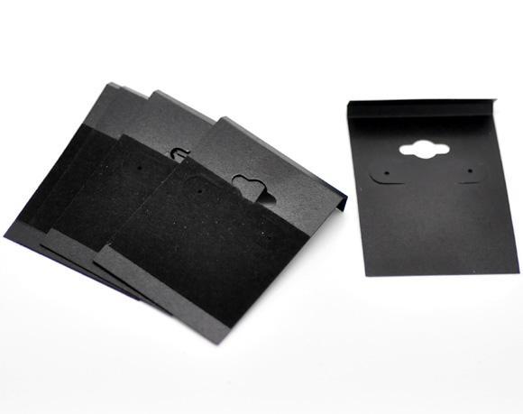 Doreen caixa hot- orelha preta ganchos brinco cartões de exibição de plástico 6.2x4.5cm 2-1 / 2