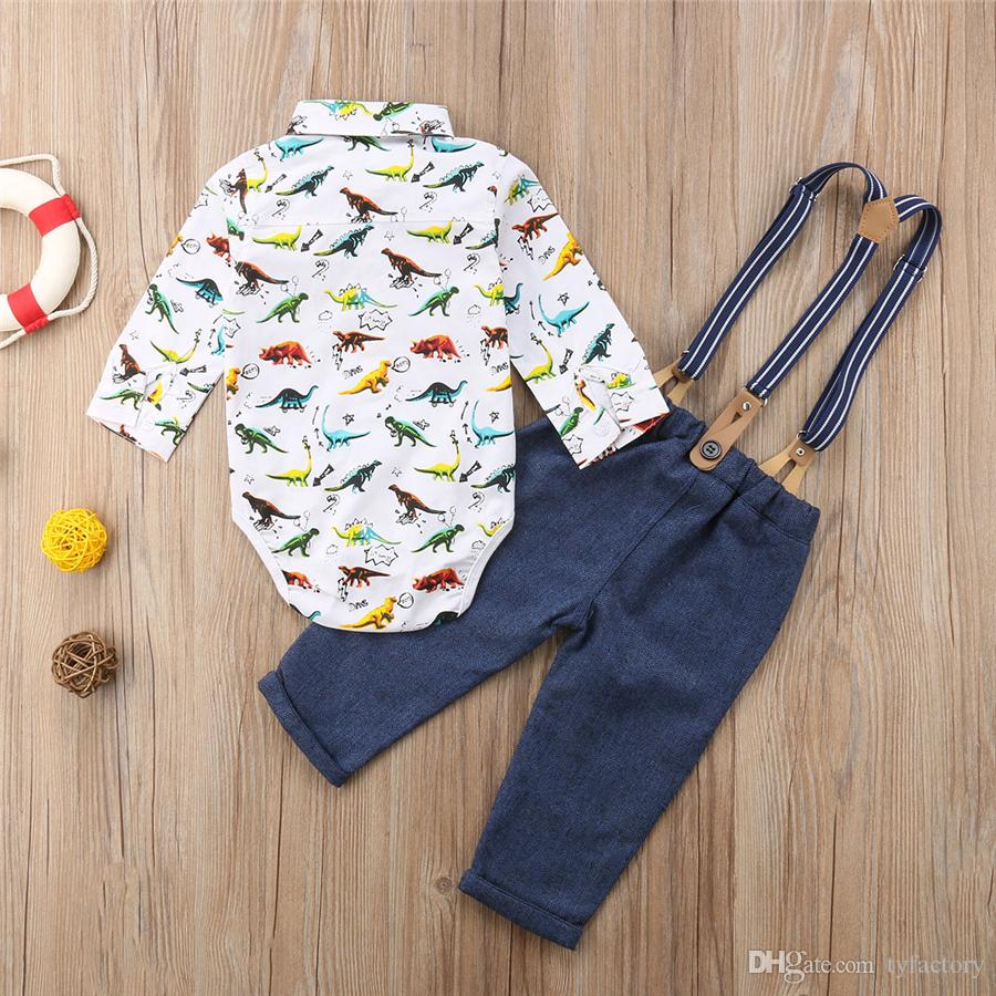 Cute Newborn Baby Boys Dinosaur Romper Navy Overalls Outfits Bow Ties Infant Baby Boy Clothing Bodysuit Jumpsuit Children Outfits Clothes