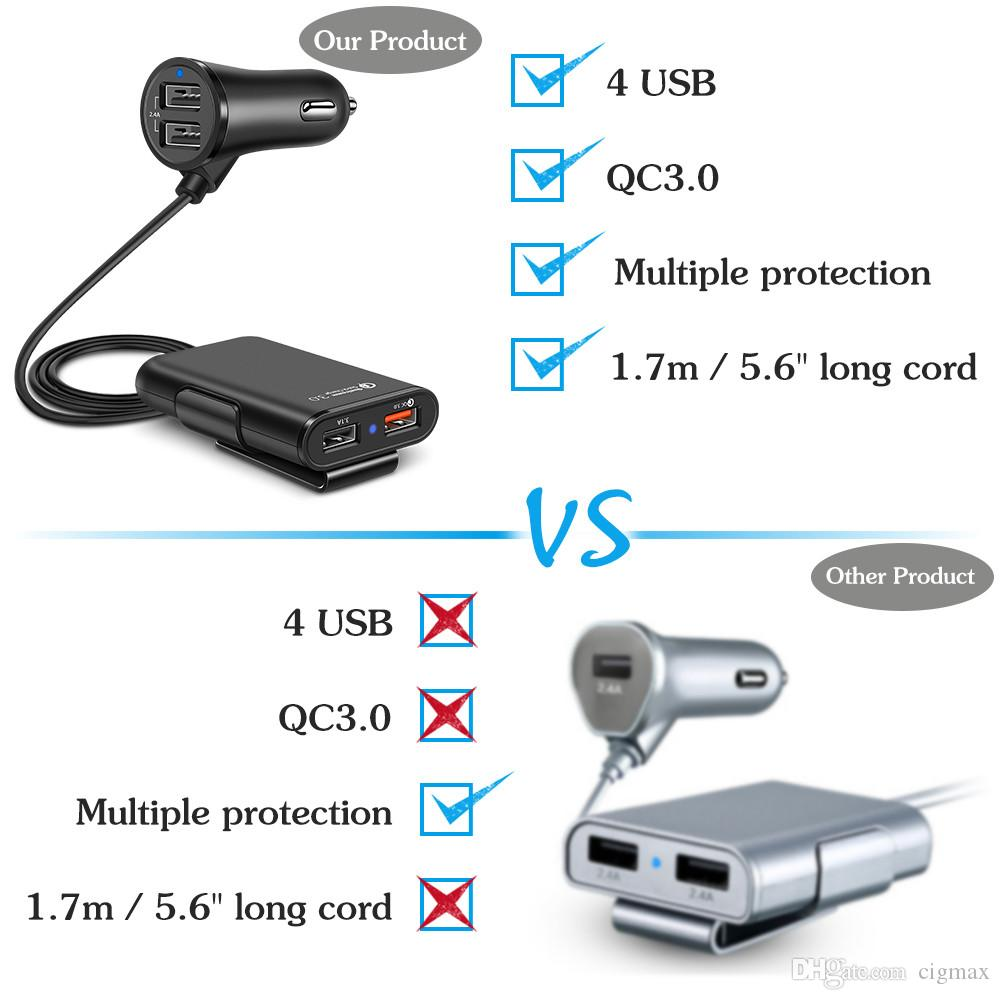 36W 4 Port USB Quick charge 3.0 Passenger Car Charger + Extending USB HUB travel Fast charger For iPhone iPad Samsung