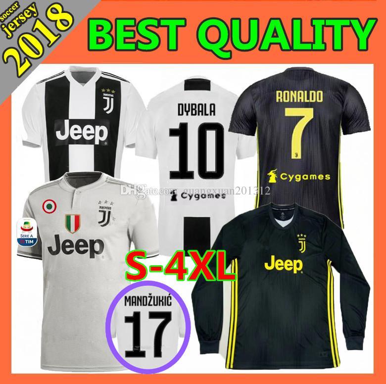 8fefb8f06 ... cheapest sizes 4xl 2018 men women juventus soccer jersey 7ronaldo long  sleeve 18 19 dybala d