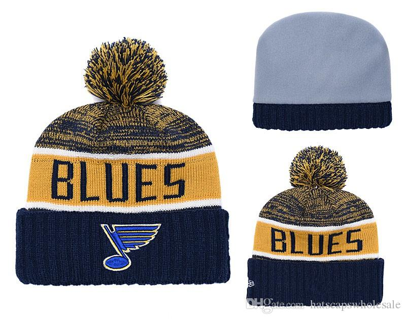 Cheap 2019 New Fans Store Blues Blue Yellow Color Sport Cuffed Knit Hat  Brand Fashion Hockey All Team Sport Beanie Hats Bones Hoodies Beanies From  ... acac80158dc