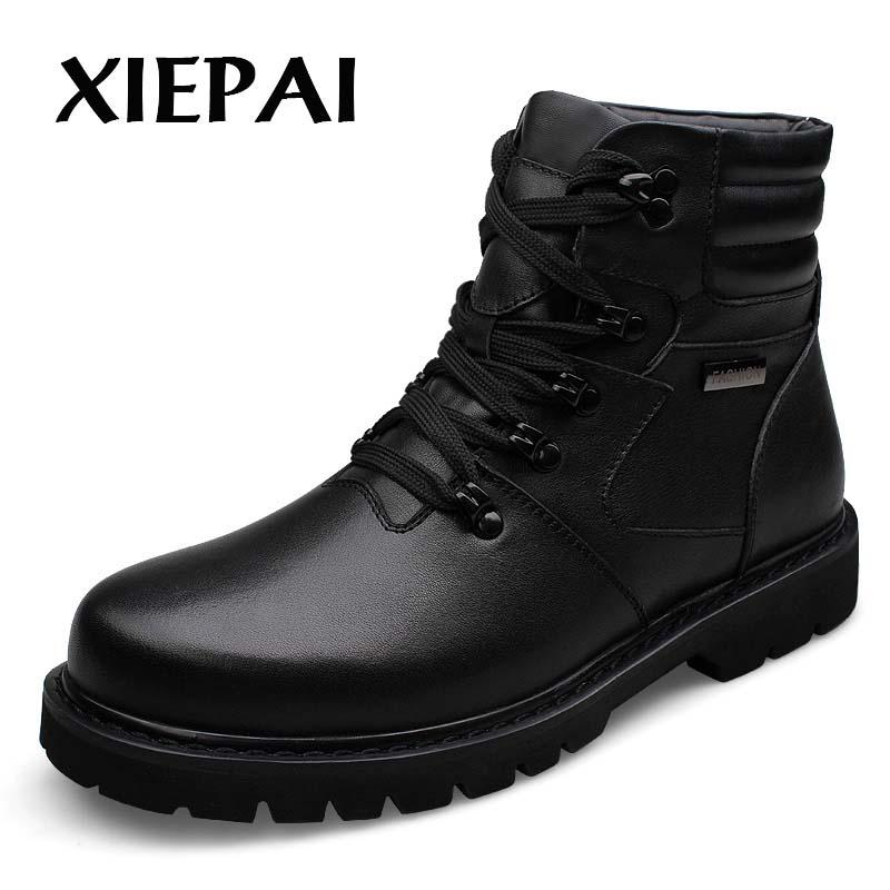 XIEPAI Genuine Leather Men Winter Fur Boots Big Size 39-48 Brand Fashion Uomo Nero Lace-up Scarpe Calde calzature
