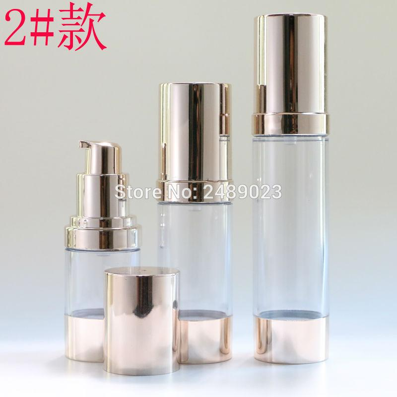15ml 30ml 50ml Pale Gold Airless Bottle Travel Cosmetic Jars Plastic Emulsion Refillable Bottles Small Watering for 100pcs/lot