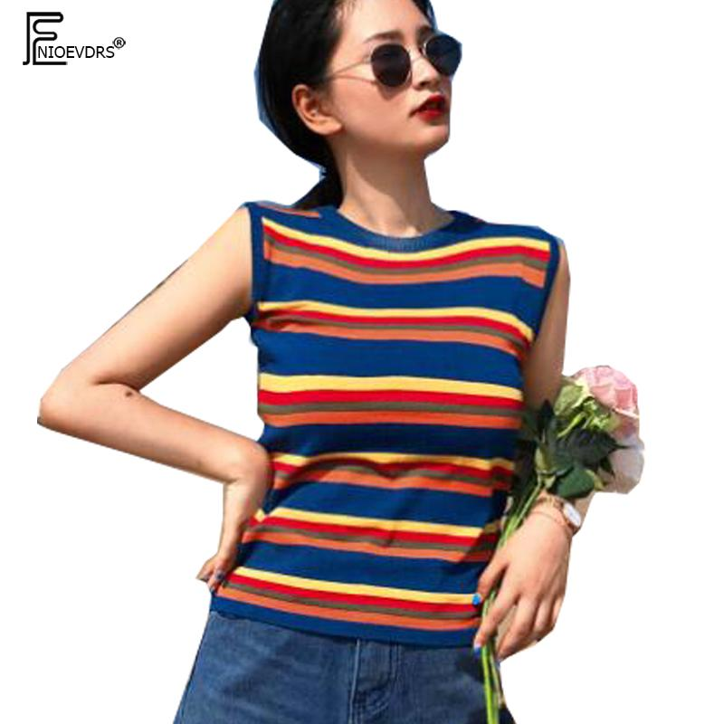 85657d758fe43 2019 Cute Sweet Tops Women Fashion Summer Sleeveless Slim Elegant Lady Tank  Tops Blue Striped Knitted Knit Pullovers Sweaters 7015 From Mujing