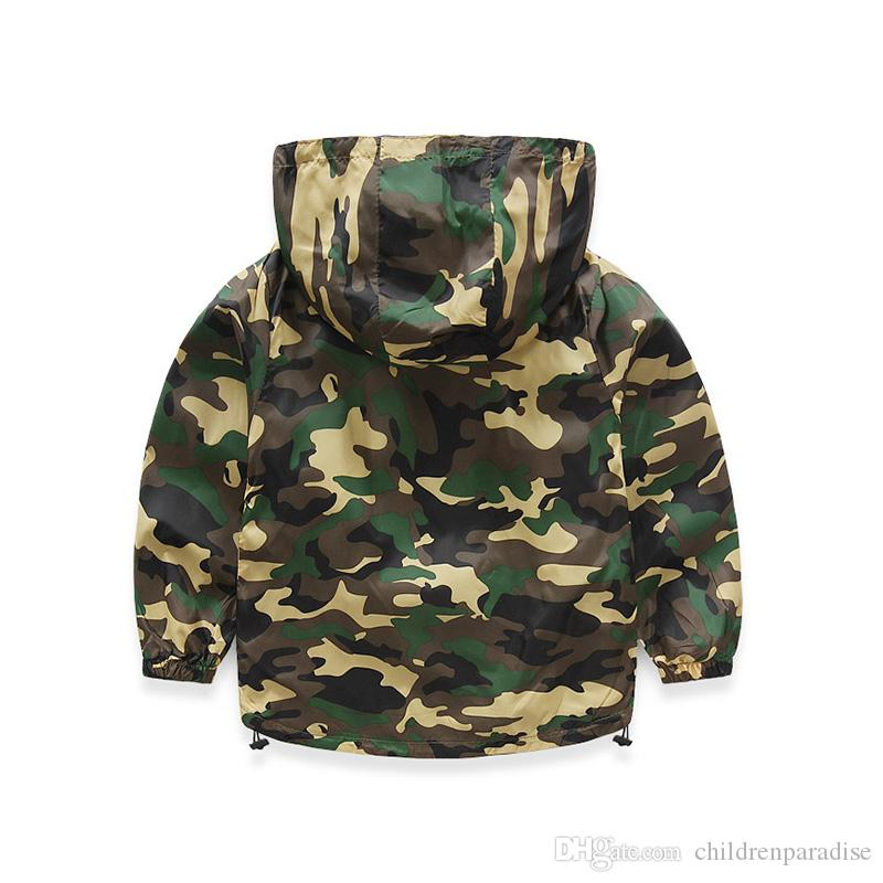 2018 New Children Camo Hooded Jackets For Boy Girls Camouflage Zipper Windbreaker Kids Long Sleeve Casual Outdoor Clothes