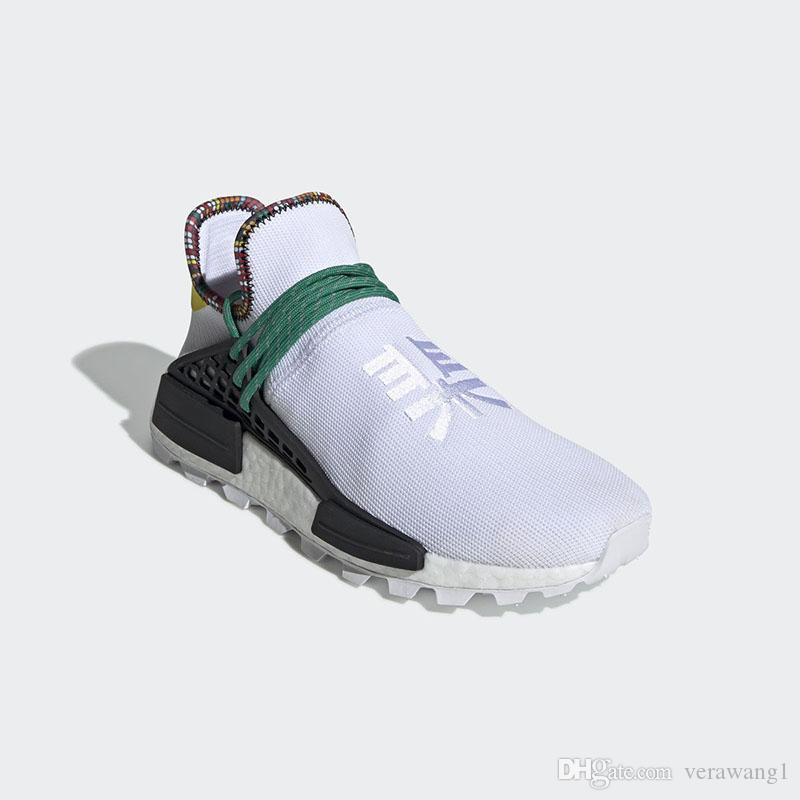 cfc112ac2 2019 2018 Authentic Pharrell Williams NMD Hu Inspiration Pack Running Shoes  For Men Women White Bold Green Bright Yellow Sneakers With Box EE7583 From  ...