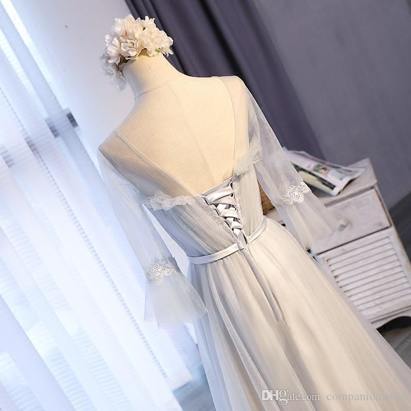 Elegant Grey Tulle Prom Party Dress Transparent Scoop Neck Backless Lace Up Three Quarter Trumpet Sleeves Embroidery Ball Gown Floor Length