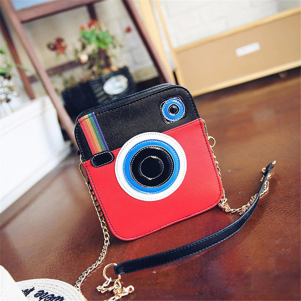 2018 New Design Rainbow Camara Pattern Crossbody Bag For Girls Women Lovely Unique Camera Shape Mini Bag With Metal Chain Handle