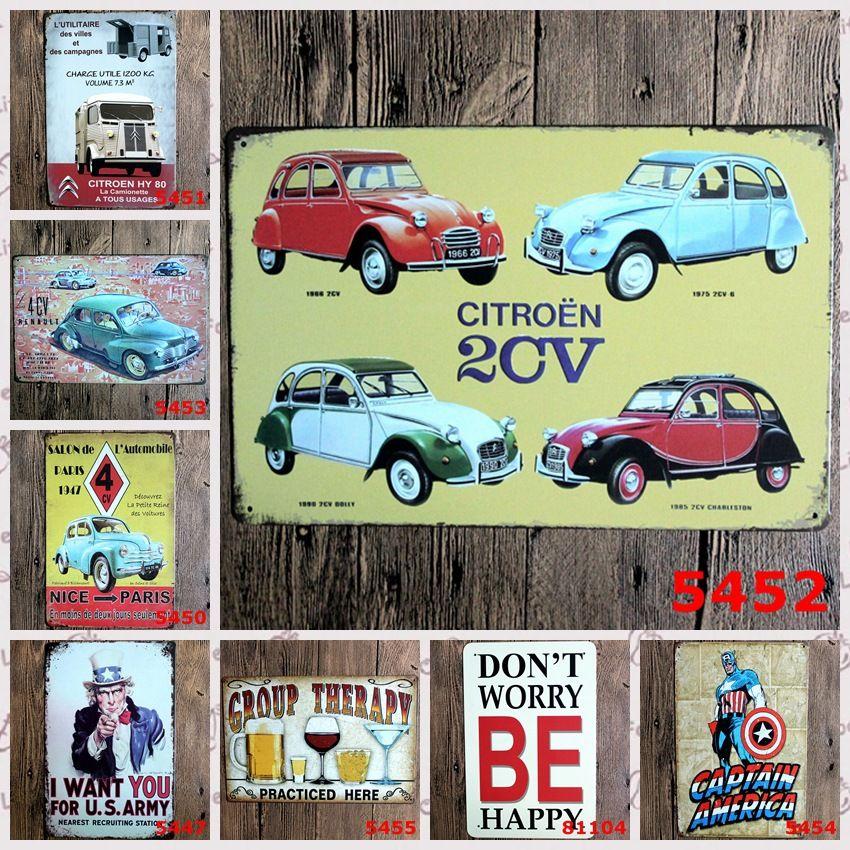Car Design Wall Decor Vintage Metal Painting Signs Tin Bar Poster Home Decor for Cafe Pub Restaurant Shop Size:20*30cm