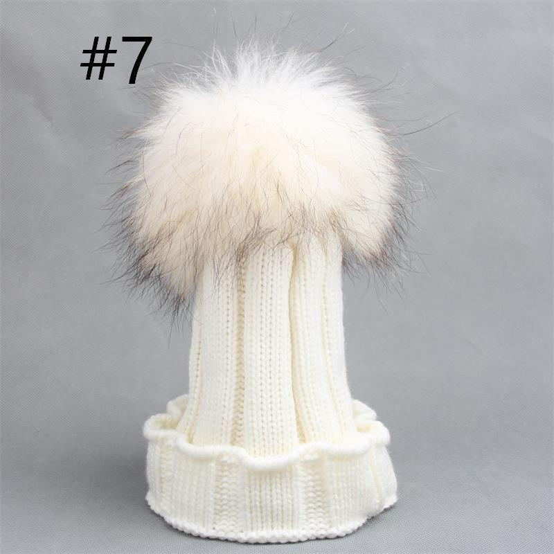 8 renkler Çocuk gerçekten rakun saç top yün şapka mantar curling sıcak bebek şapka erkek ve kız Ponpon şapka kasketleri çocuklar için caps