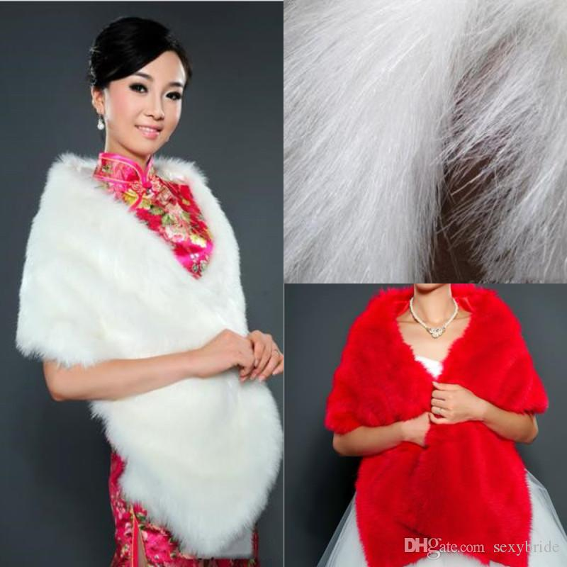 2cf9749285 Cheap Faux Fur Winter Wedding Wraps 2018 Elegant White Red Bridal Shawls  Shrugs Wedding Accessories UK 2019 From Sexybride
