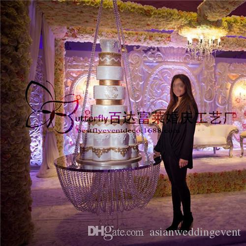 Dia 18 Clear Wedding Cake Stand Chandelier Style Suspended Cake Swing  Crystal Hanging Cake Stand Outdoor Wedding Decorating Ideas Rent Wedding  Decor From ...