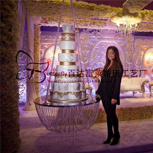 Dia 18 Support De Gâteau De Mariage Clair Style Lustre Suspendu Balançoire De Gâteau Support De Gâteau Suspendu En Cristal