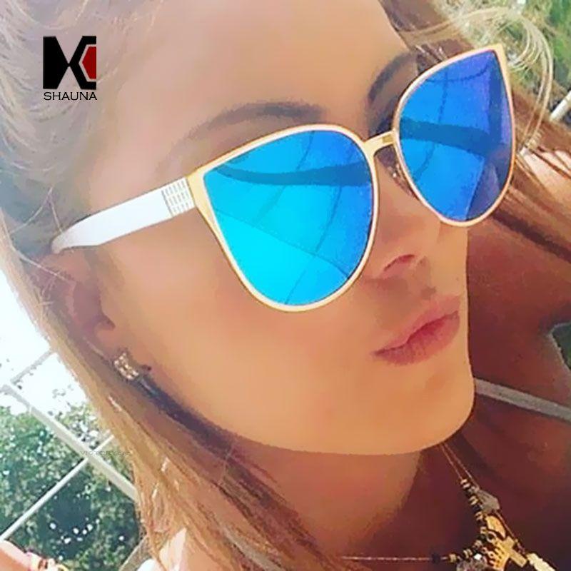 1d0a5871f59 SHAUNA 100% Women Cat Eye Sunglasses Fashion Reflective Lens Sun Glasses  Polarized Cat Eye Sunglasses Cat Eye Sunglasses Sunglasses Online with   13.72 Piece ...