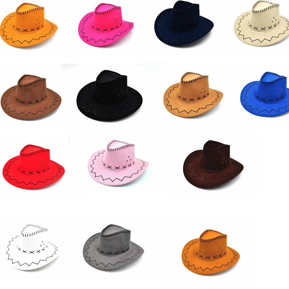 01f2af16c20 Western Cowboy Hats Men Women Kids Brim Caps Retro Sun Visor Knight Hat  Cowgirl Brim Party Hats GGA965 Fabric Birthday Hat Fabric Party Hat From ...