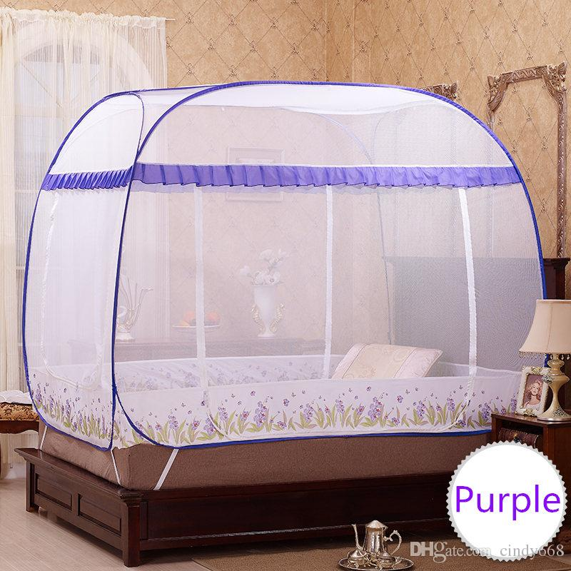 3 Sizes Folding Portable Mosquito Nets For Sale,Quadrate Mosquito Net for Double Bed,Mosquito Net Lace,Blue and Purple Bed Canopies Adult