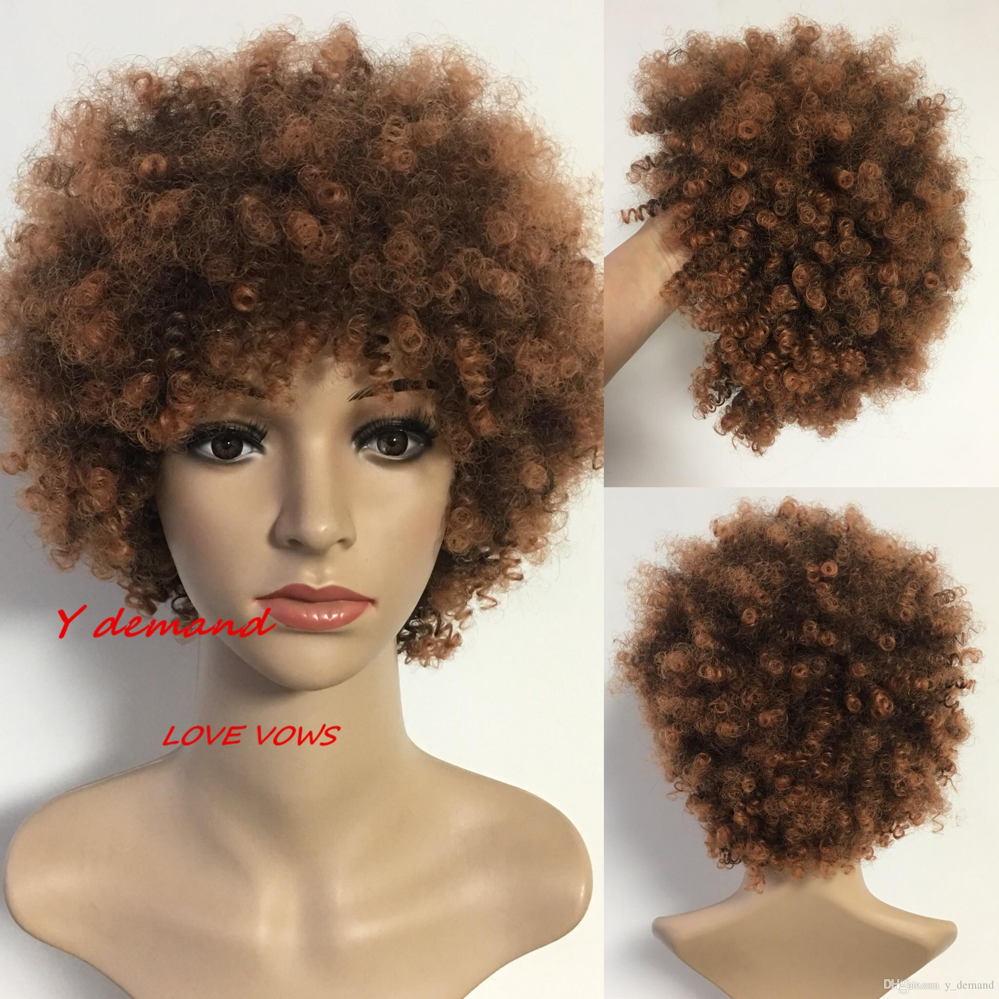 2018 Fashion Short Kinky Curly Celebrity Wig African