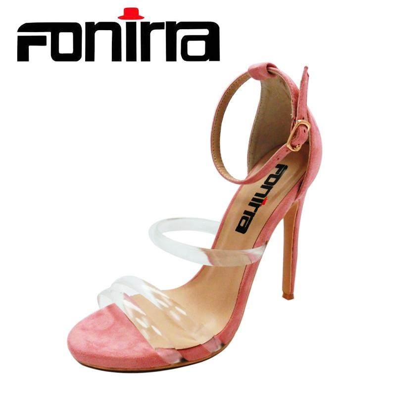 acdcd2594d6 FONIRRA Sexy Women High Heels Sandals Clear PVC Ankle Strap Pumps Super  High Thin Heels 12 cm Fashion Party Sandals Shoes 563