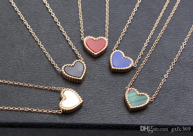 Hot Style Lace Love Heart Necklace Women 14k Rose Gold Japan and South Korea Simple Heart Heart Clavicle Pendant