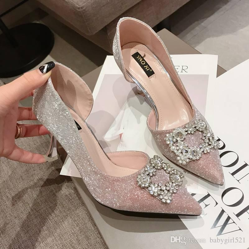 448f0b5b2a3de New Luxury Shinny Wedding Shoes Crystal High Heel Rhinestones Silver Pink  Gradient Bridal Shoe Princess Party Evening Birthday Shoes 2018 Comfortable  Bridal ...
