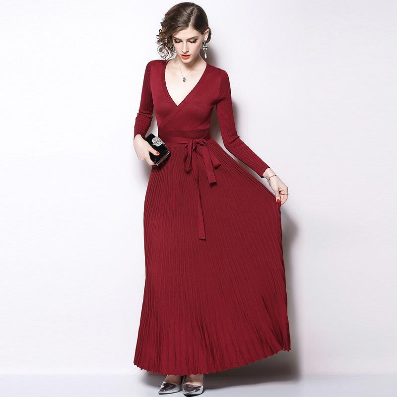 da9c2063619 2019 Bodycon Pleated Maxi Dresses Knitting Sweater Dress Women V Neck Long  Sleeve Slim Autumn Tunic Dress From Sinofashion
