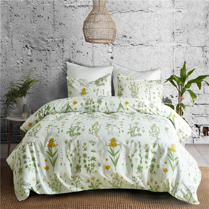 Rural Style Green Flower Pattern Bedding Sets Soft 2bed Linings