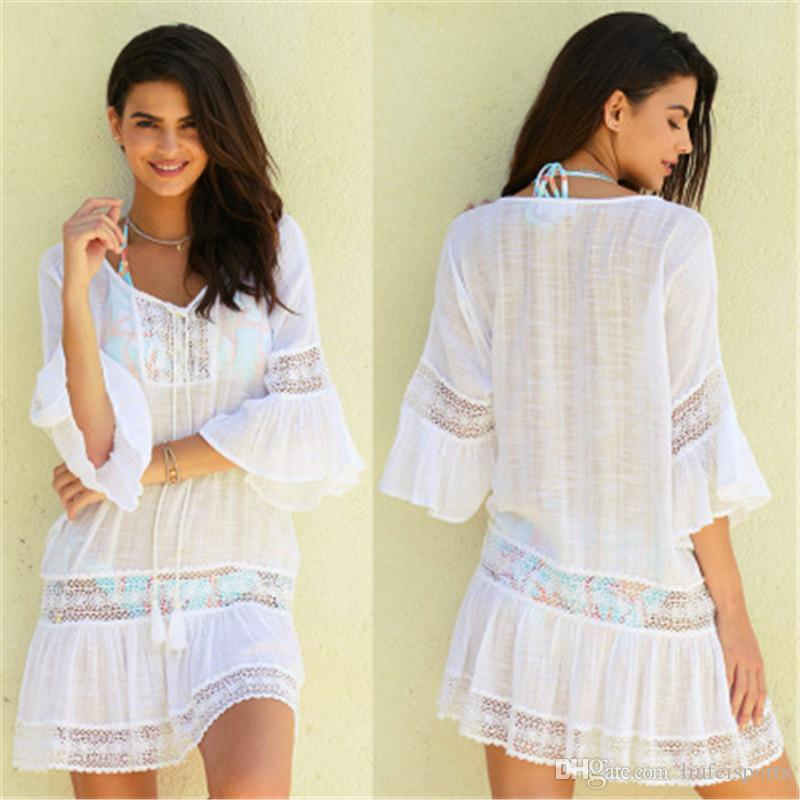 c4a8bf043936 Beach Cover Up Swimwear Women Cover Ups Lace Beach Dress Tunic Tassel  Crochet Bathing Suit Cover Ups Pareo De Plage Beachwear Online with  $12.16/Piece on ...