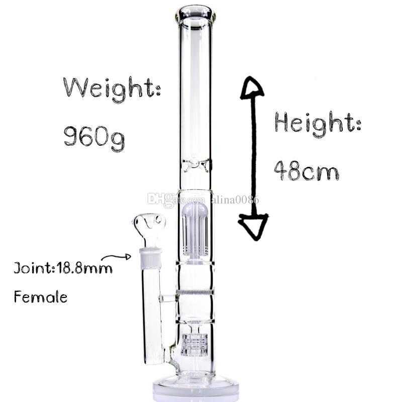 Acqua di vetro del narghilè Bongs Classici di Bongs Design 8 Braccio albero Perc Honeycomb / Cage 5mm Spessore Bong Tall 19