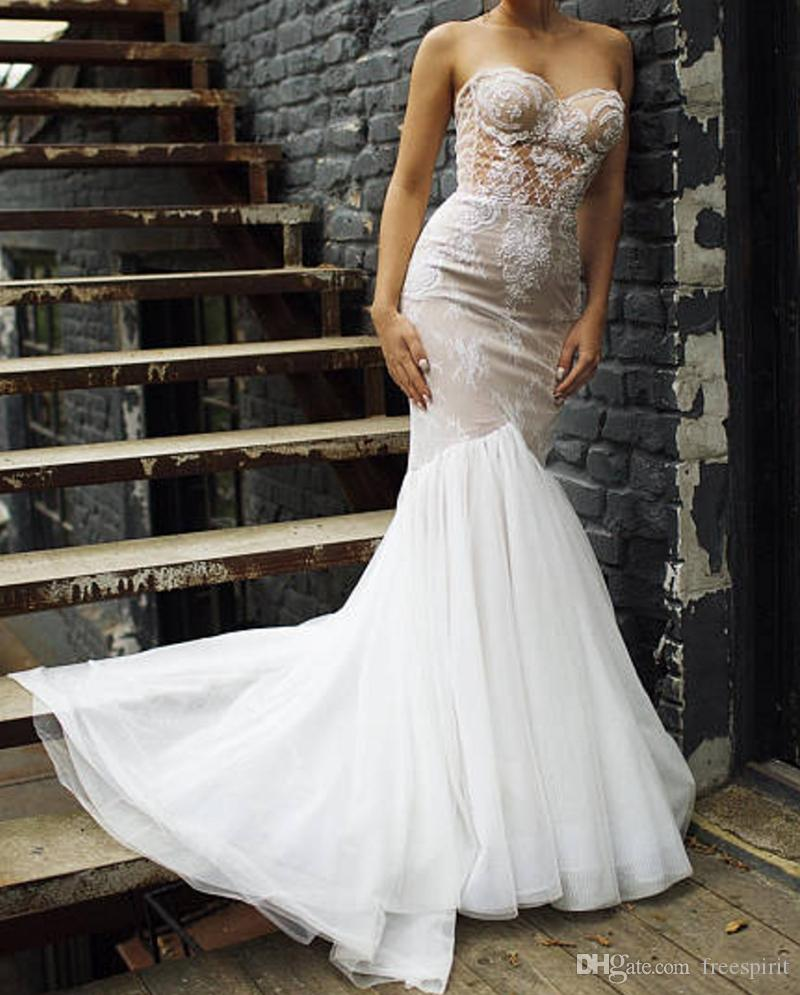 7f5e32b3e6 Vintage Mermaid Wedding Dress Dark Champagne Sweetheart Pearl Beading Ivory  Fishtail Lace Bridal Gown Backless Gorgeous Dresses For Bride Style Wedding  ...