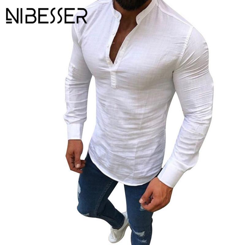 Acquista NIBESSER Plus Size 3XL Uomo Camicia Sociale Bottone Casual Lino  Abbigliamento Uomo Tinta Unita Manica Lunga Scollo A V Slim Fit Camicia  Bianca A ... 73056ebffc1