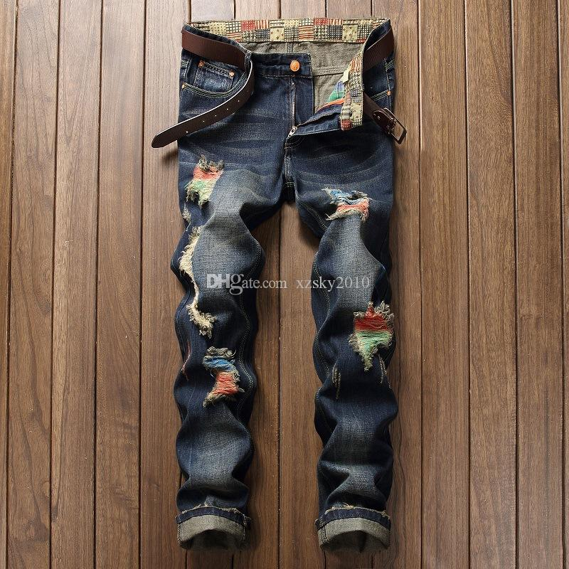 Men's jeansStreet personality brush paint pants breaking holes fashion skinny Big break hole male jeans, fashion foreign trade trend locom
