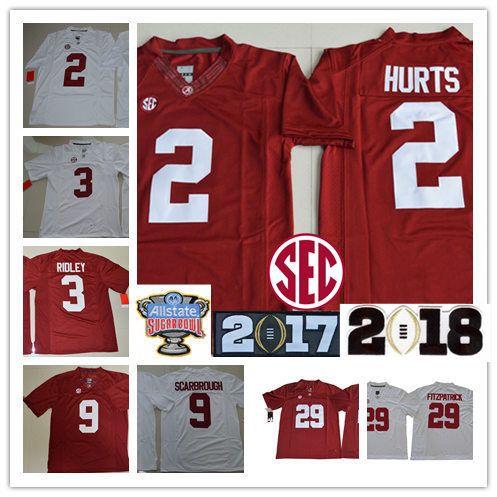 ee4fcc688f7 Mens Alabama Crimson Tide Jalen Hurts Football Jerseys  3 Ridley  29 ...