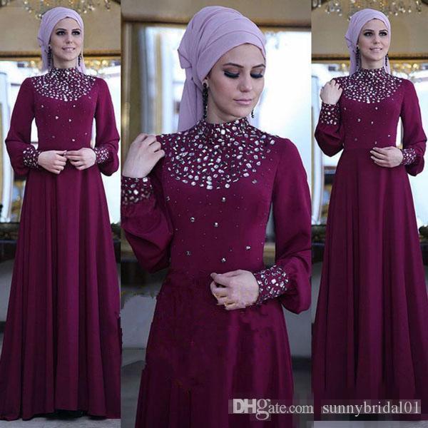 Elegante Weintraube Chiffon Muslim Formale Abendkleider 2018 Lange Ärmel Sparkly Perlen Boden Lange Arabische Prom Party Kleider Günstige Vestidso