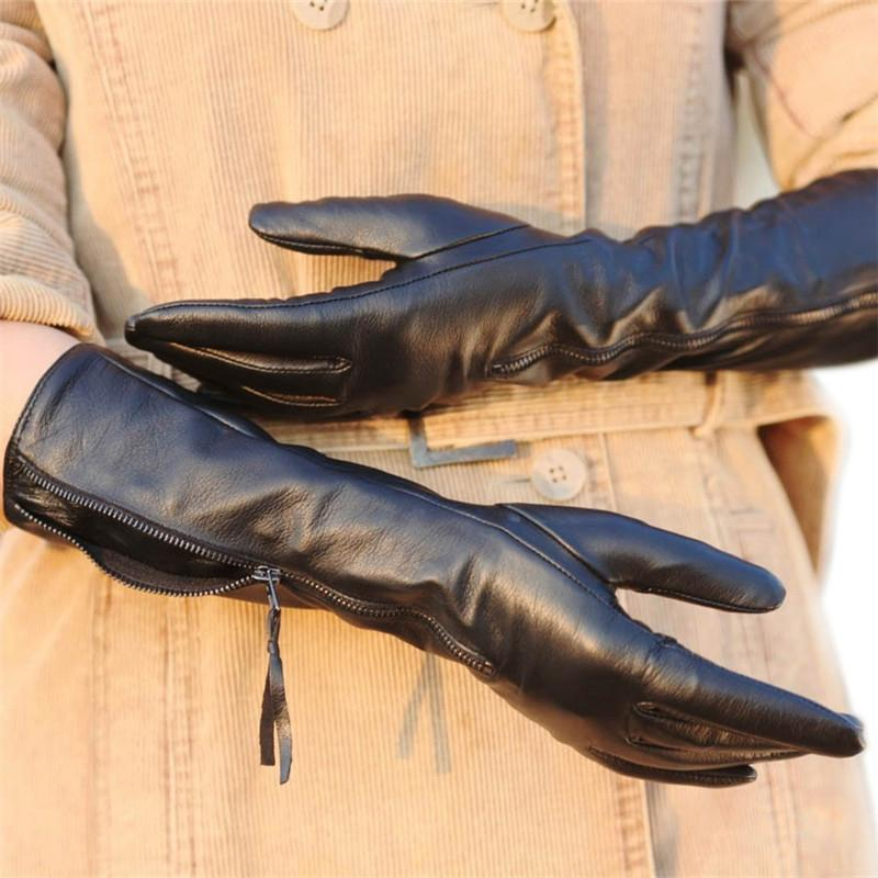 8bf583e9988c9 Women's Genuine Leather Gloves Female Autumn Winter Black Sheepskin Gloves  Zipper Long Style Five Fingers Thin Velvet L031NQ